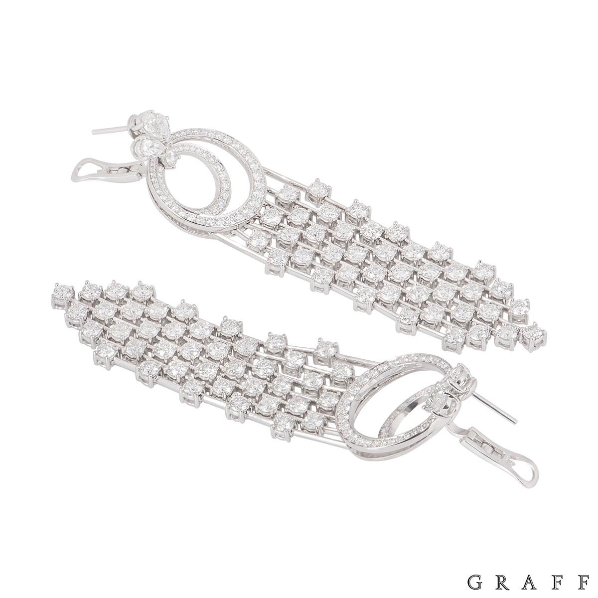Graff White Gold Diamond Waterfall Drop Earrings